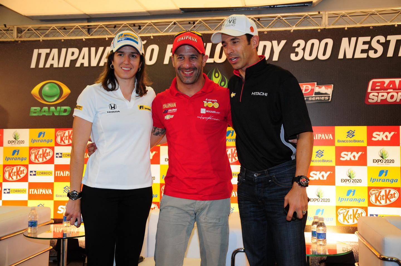 Bia Figueiredo, Tony Kanaan e Helio Kastroneves